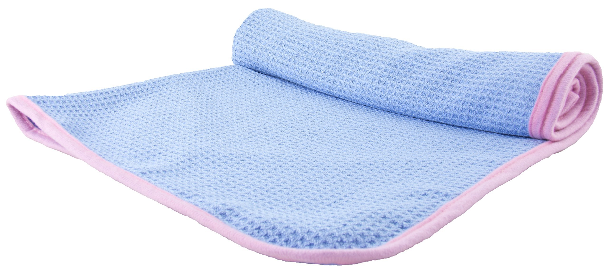 GigaWaffle Weave Microfiber Cleaning & Fast Drying Towel By Slush HD - Premium Quality 80% Polyester & 20% Polymide Blend - Soft & Highly Absorbent - 300GSM -38''X24'' Size - Light Blue & Pink