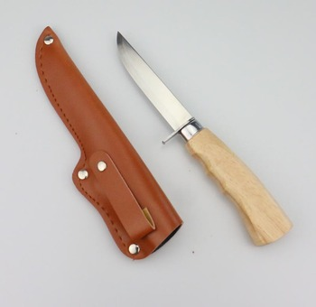 420 blade, wooden handle and leather sheath for camping and fishing  Utility fishing knife