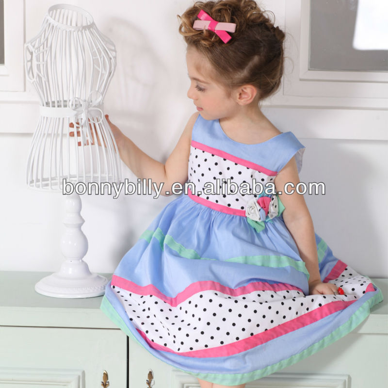 Girls dresses summer fresh blue color kids' garment