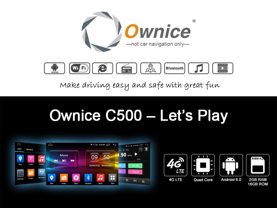 Wholesale price Ownice Android 6.0 Octa core car DVD player for 2 din VW with 4G LTE 2G 32G 1024*600