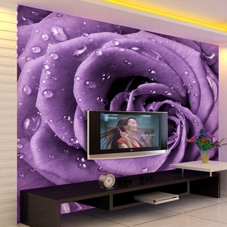 Hotel huis woonkamer paarse roos 3d tv achtergrond behang ...
