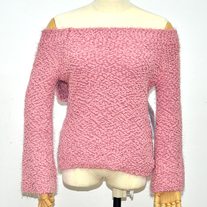 Winter good selling off-shoulder pullovers Lady knitted sweater