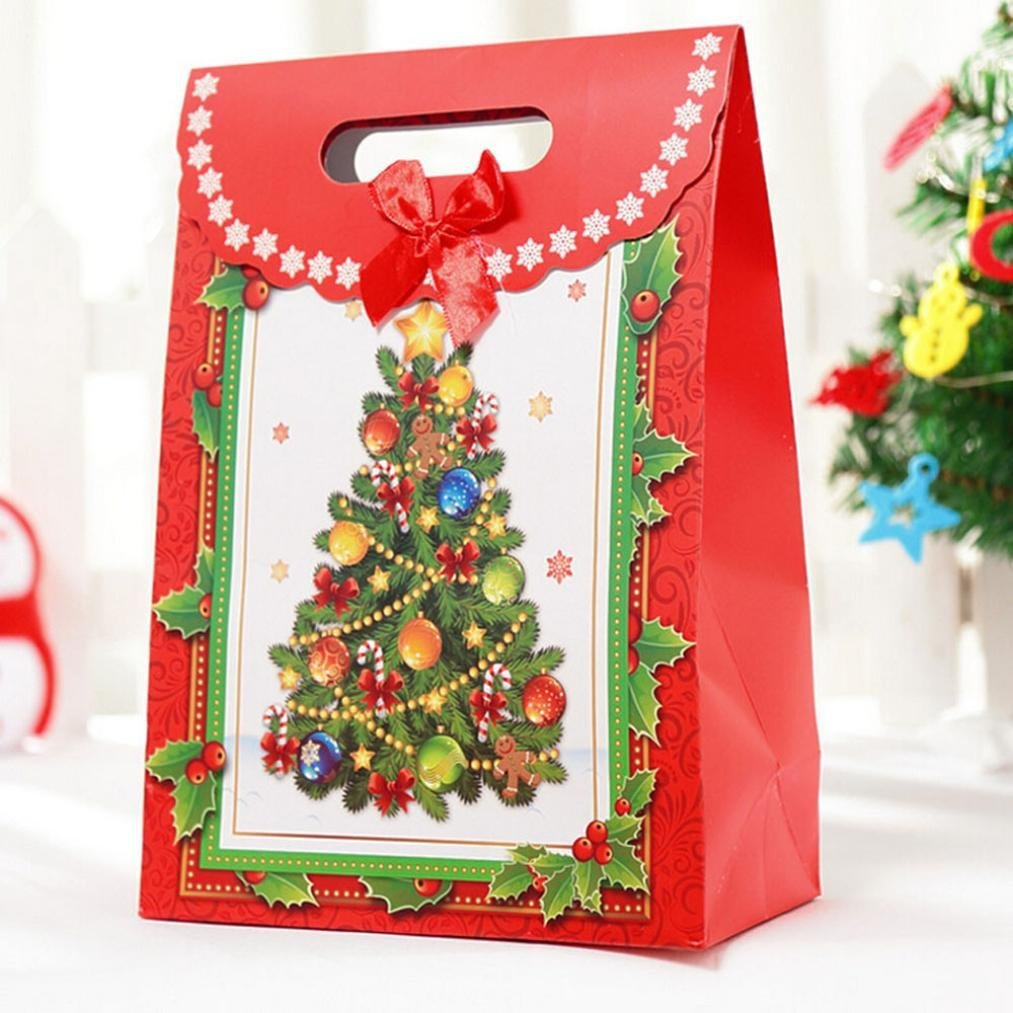 Get Quotations · DZT1968 Christmas Gift Bag Cartoon Print Candy Christmas  Decoration Paper Candy Box (A)