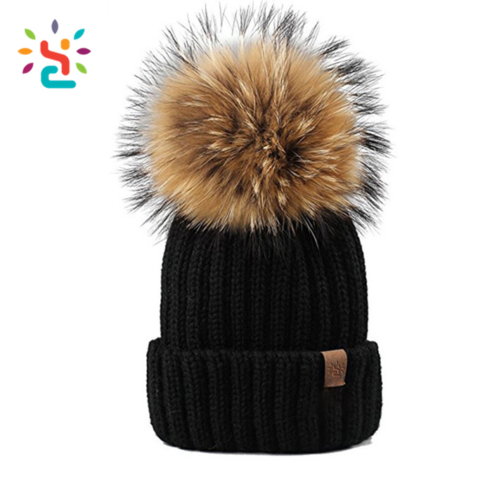 ca9c800e683 Wholesale custom 100% wool knitted cap winter hats Personalized leather  label women black knitted beanie