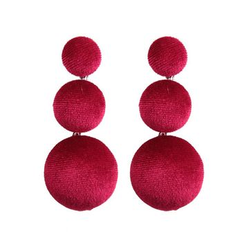 2017 Winter Latest Design TripleWomen Earrings Wine Red Black Color Velvet Round Pom Pom Earrings