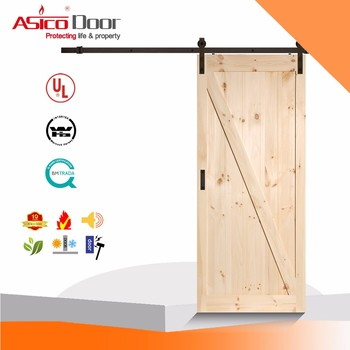 Classical Z Brace Unfinished Interior Barn Door Slab With Sliding
