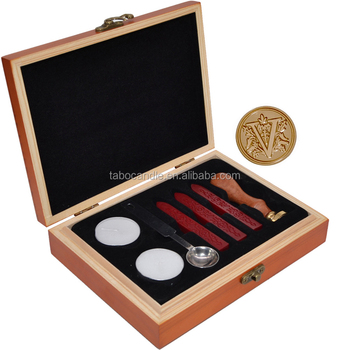 wooden box sealing wax stamp set