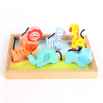 Wooden Kids Learning Animal Set Toys Primary Resource Blocks
