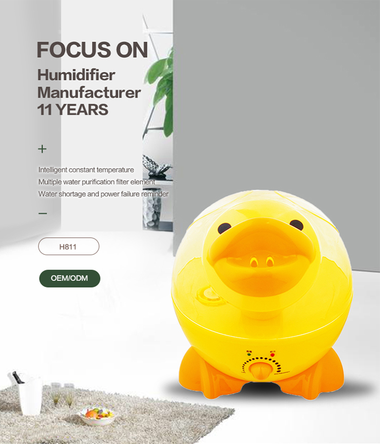 3.2L Yellow Duck Animal Cute Shape Home Cool Mist Electric Air Humidifier