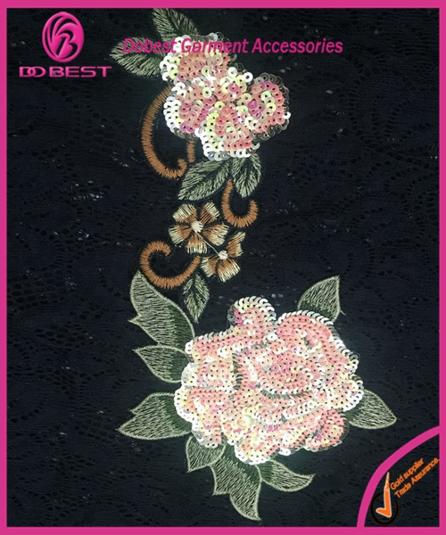 Best Selling China Supply Embroidered Beaded Flower indian applique
