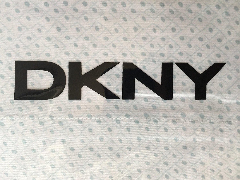 DKNY Rhythm Cotton Sateen Light Green Geometric Dot Diamond Pattern on White 3 Piece Sheet Set, Size: Full