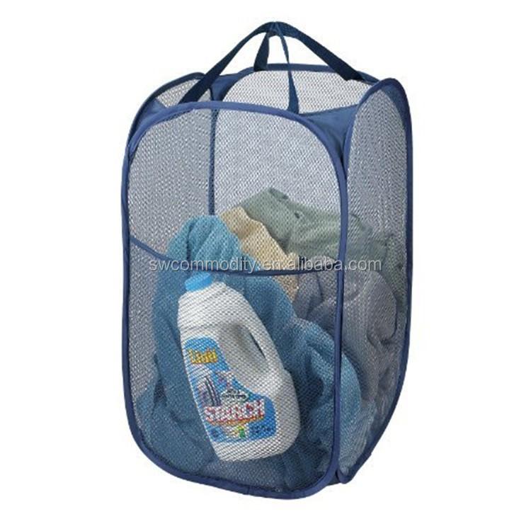 Large Folding Laundry Bag Wire Mesh Storage Pop Up Hamper Baskets ...