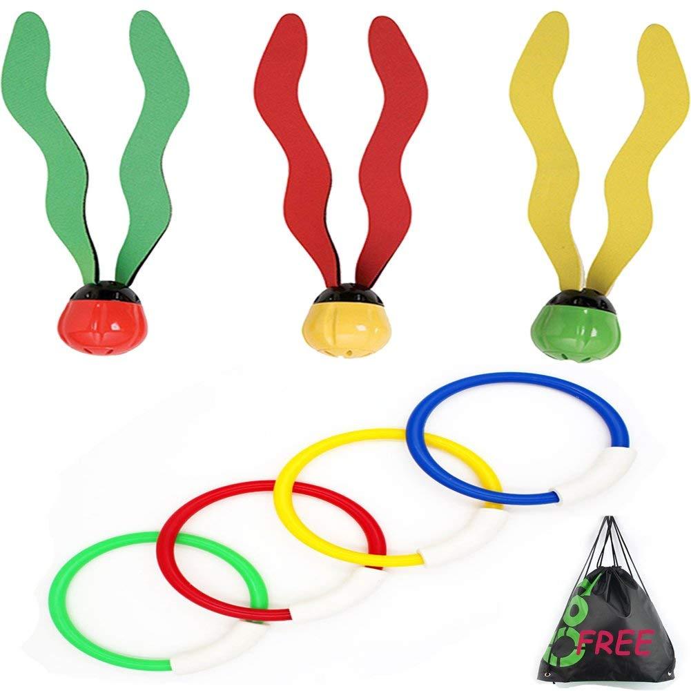YAVOUN Underwater Swimming/Diving Pool Toy Rings (4 Rings), & Aquatic Dive Balls (3 Balls) Gift Set Bundle - 2 Pack,Underwater Swimming Pool Toy Diving Play Set.