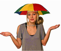 J1009 Cheap sun folding logo printed Advertising Head hat shape umbrella/umbrella hat for sale