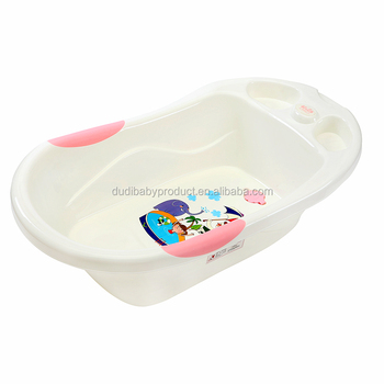 Baby Bath Basin With Printed Sticker And Drainage Hole At The ...