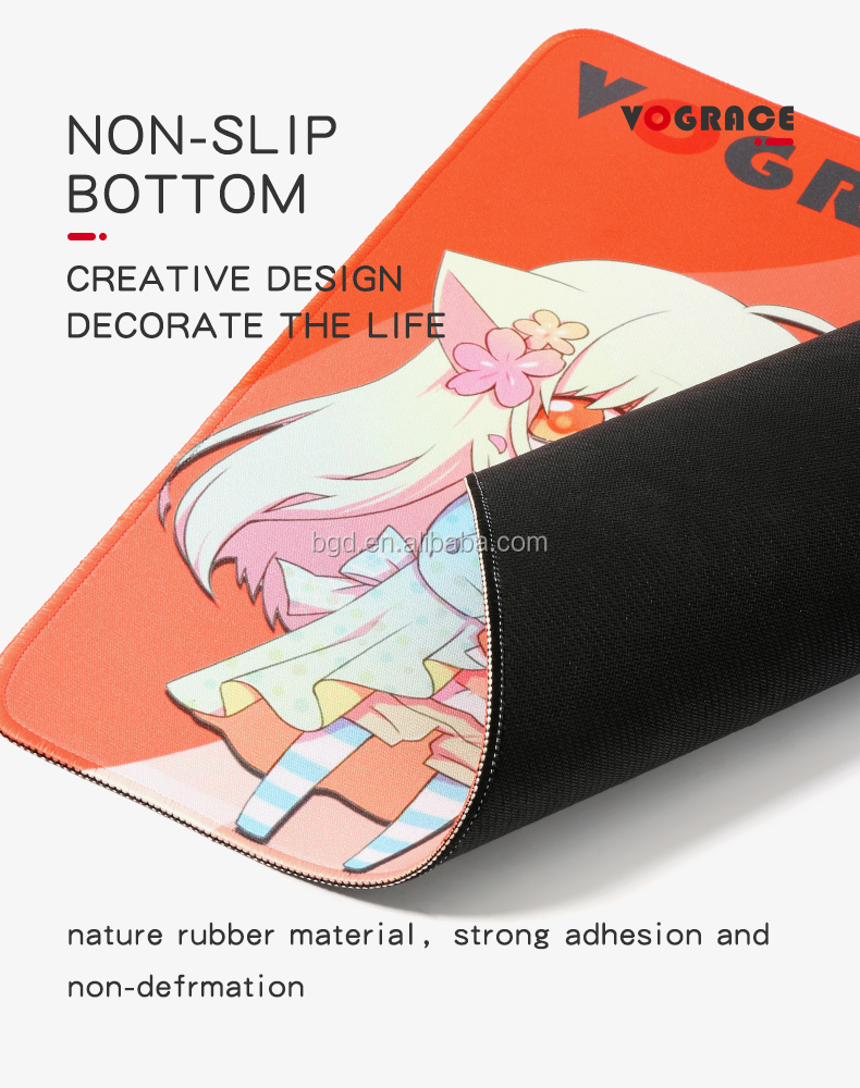 VOGRACE Custom Shape OEM natural rubber foam Fabric ergonomic mousepad Personalised Mouse pad Mat With Logo Print
