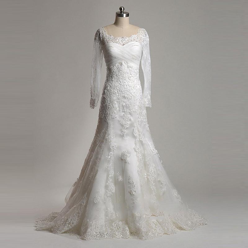 Simple A Line Long Sleeve Wedding Dress Elegant 2016: Elegant Sexy A Line Appliques Lace Long Sleeve Wedding
