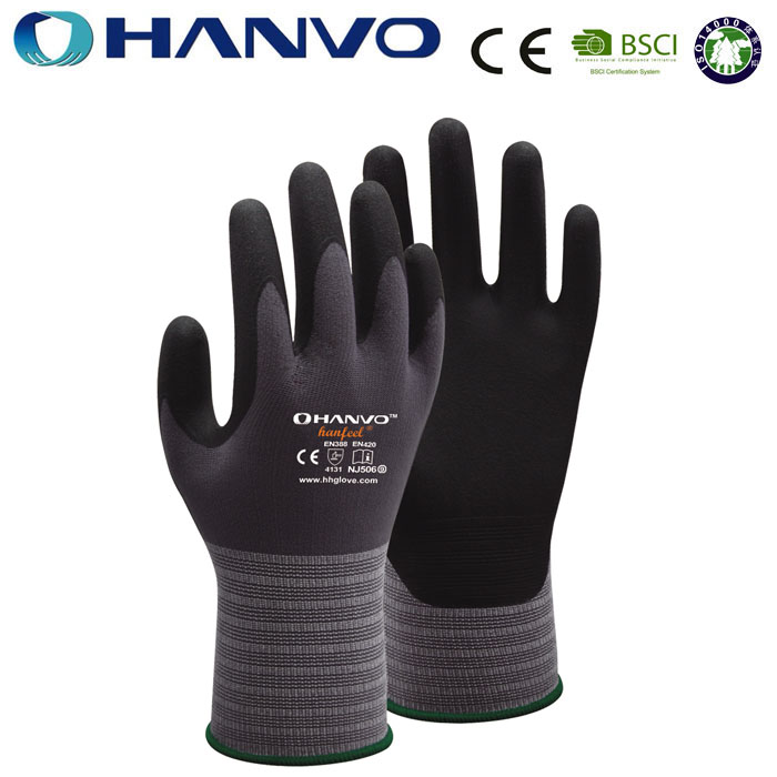 Wholesale HANVO Brand 15G nylon and spandex liner coated super micro foam nitrile <strong>glove</strong>