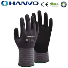 Wholesale HANVO Brand 15G nylon and spandex liner coated super micro foam nitrile glove