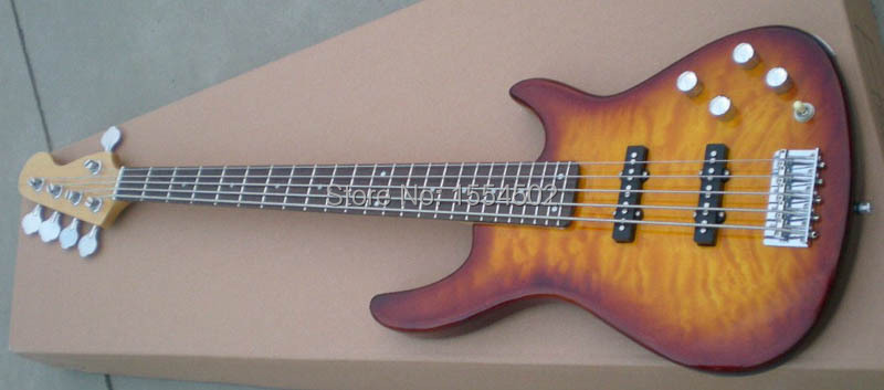 free shipping 5 string bass guitar basswood material body guitar bass in guitar from sports