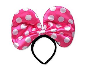 Party Costume Accessory Christmas Party Light Up Minnie Mouse Flashing LED Polka Dots Spots Bow Hairband Ribbon Headband Event Costume Hair Hoop - Pink