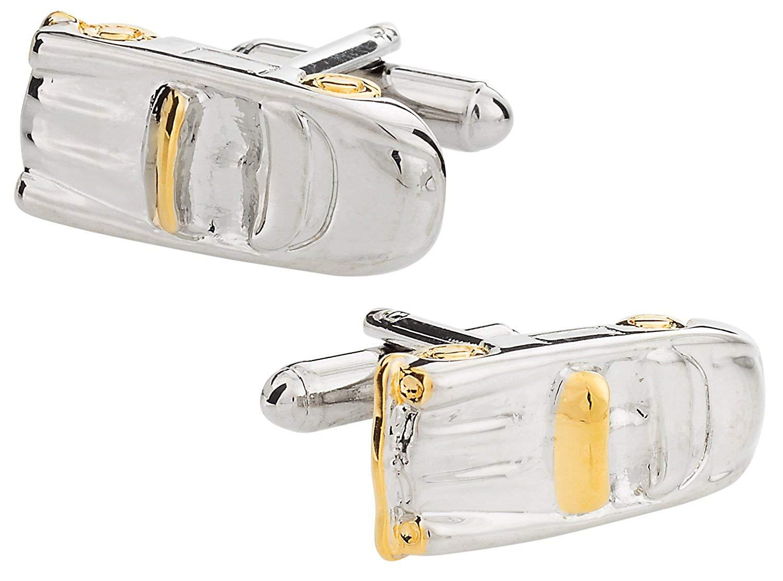 Cuff-Daddy Convertible Car Silver Gold-Tone Cufflinks with Presentation Box