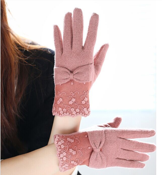 girls fashion sweet warm woolen gloves fashion wool lace gloves with bow