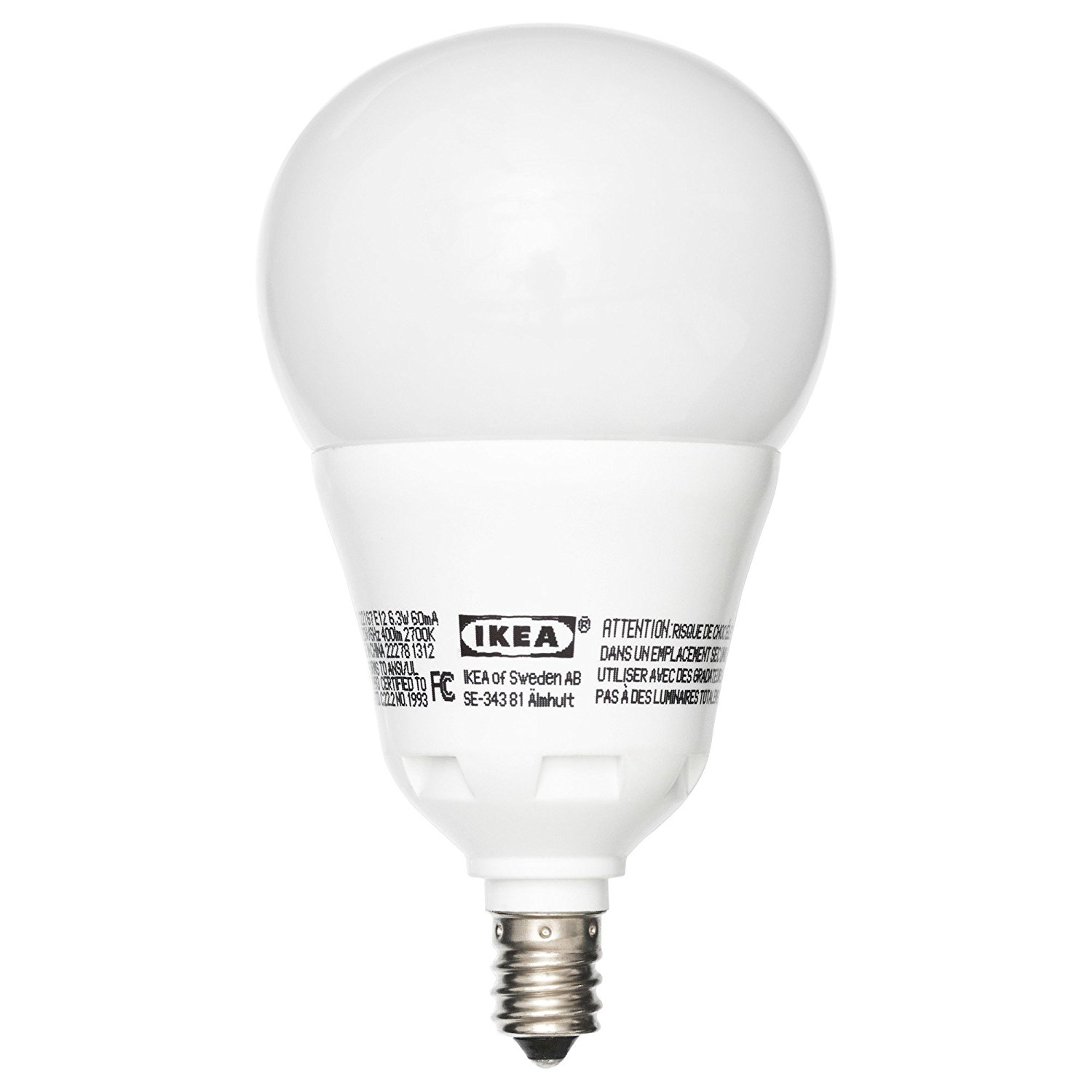 f8b000312f6 Get Quotations · Ikea Ledare E12 400 LED Light Bulb 6.3 Watt DIMMABLE Globe  Opal