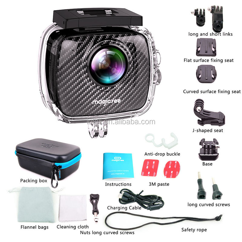 Factory price 360 degree 4K waterproof wireless sport action camera with remote control