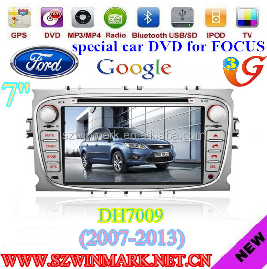 special 7 inch 2 din touch screen car dvd player for FORD FOCUS/MONDEO/S-MAX with ipod/bluetooth/gps/3g car dvd DH7009