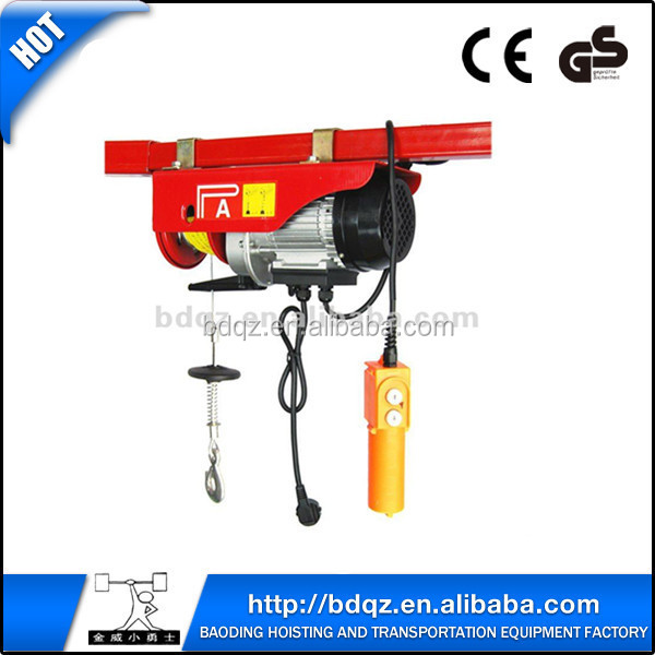 PA Mini Electric lifting hoist/100kg-1000kg wire rope electric blocks/ electric mini lifting pulley block
