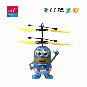2018 Hot Selling USB Chargeable Helicopter Minion RC Infrared Flying Toys Kit for kids BR23-2