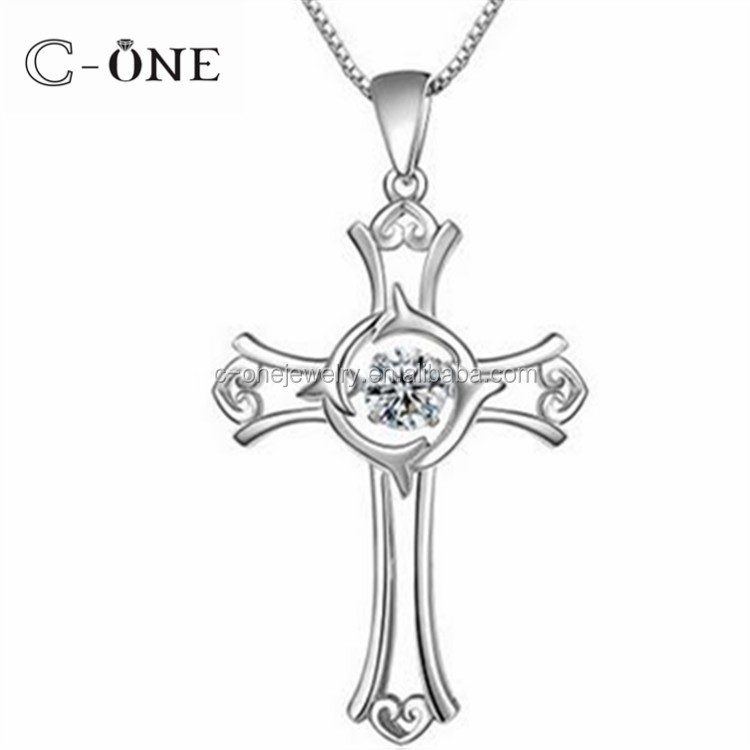 C-One Jewelry 92.5 Sterling Silver Shiny Cross Dancing stone Pendant Necklace
