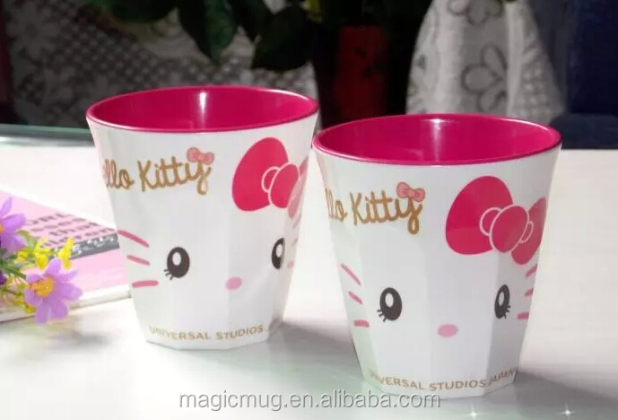 O Kitty Design Plastic Coffee Mugs For Kids Breakfast Milk Tumbler