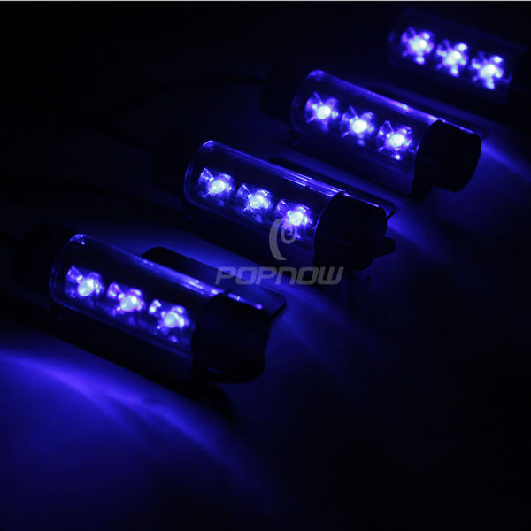 Atmosphere Neon Light Lamp 4*3 Bulbs Car Interior Blue Decorative Light