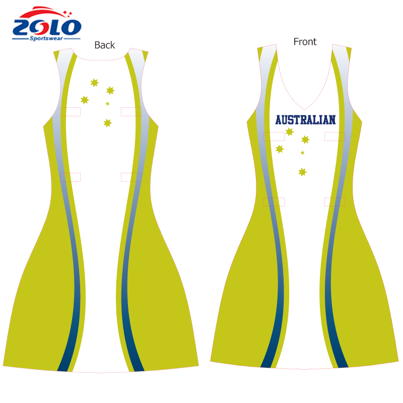 2017 China manufacture design your own netball dress