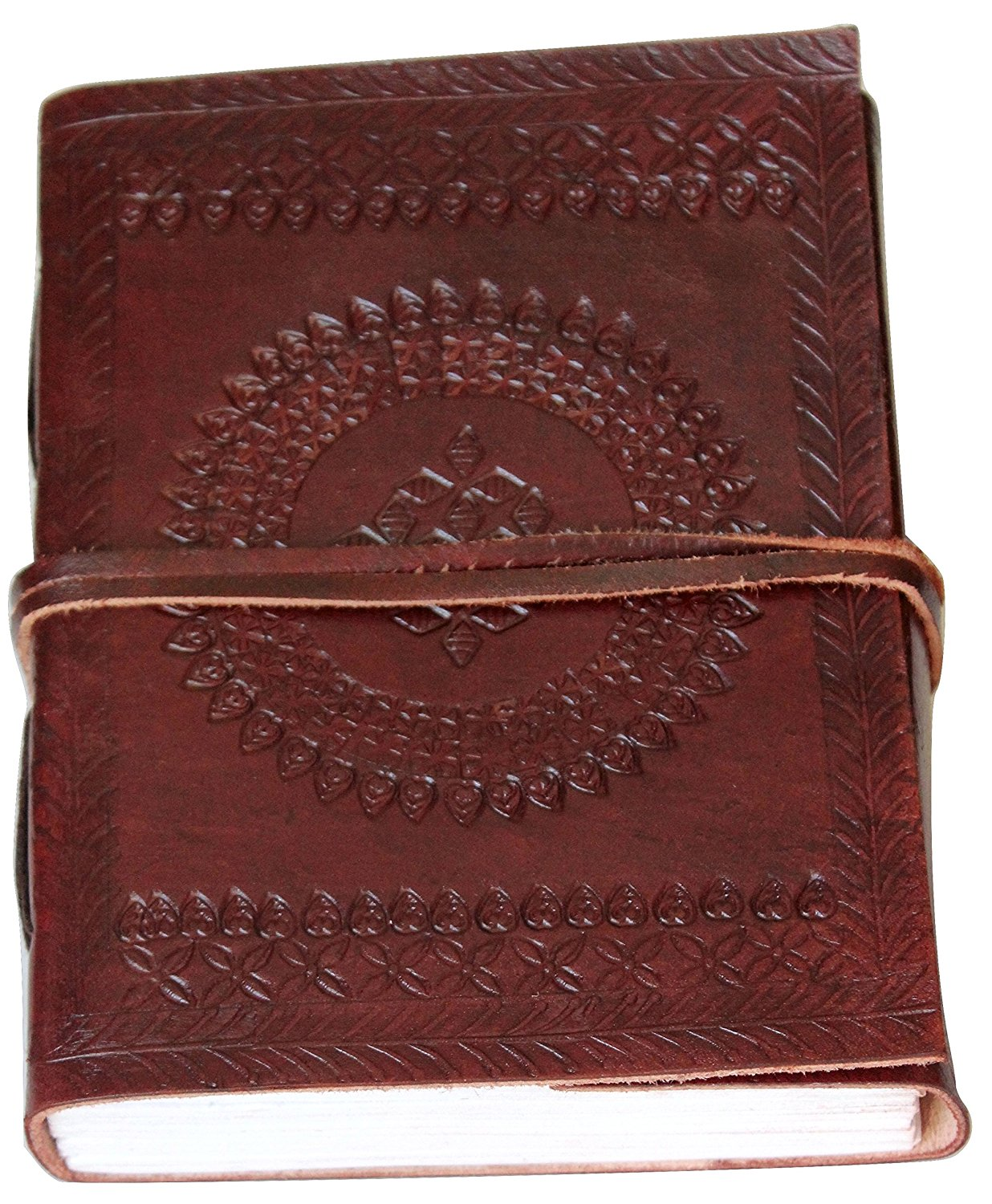 """Classic Embossed Leather Journal Diary (Handmade) with leather strap closure - 25% off SALES + SPECIAL OFFER NOW! (6"""" x 4.6"""")"""