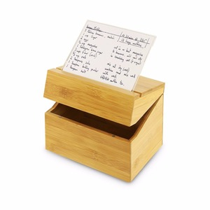 Bamboo Recipe Box With Acrylic Recipe Card Holder