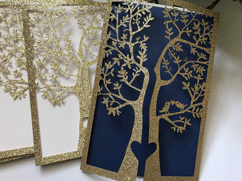 Glitter Gold Rustic Wedding Invitations,Love Bird Laser Cut Wedding Invitation Covers,Wedding Invitation Cards, Elegant Wedding Invitation, Wedding Cards,Wedding Invites,Invitation Cards,50pcs