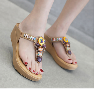 2018 New Design Summer High Heel Wedge Sandals