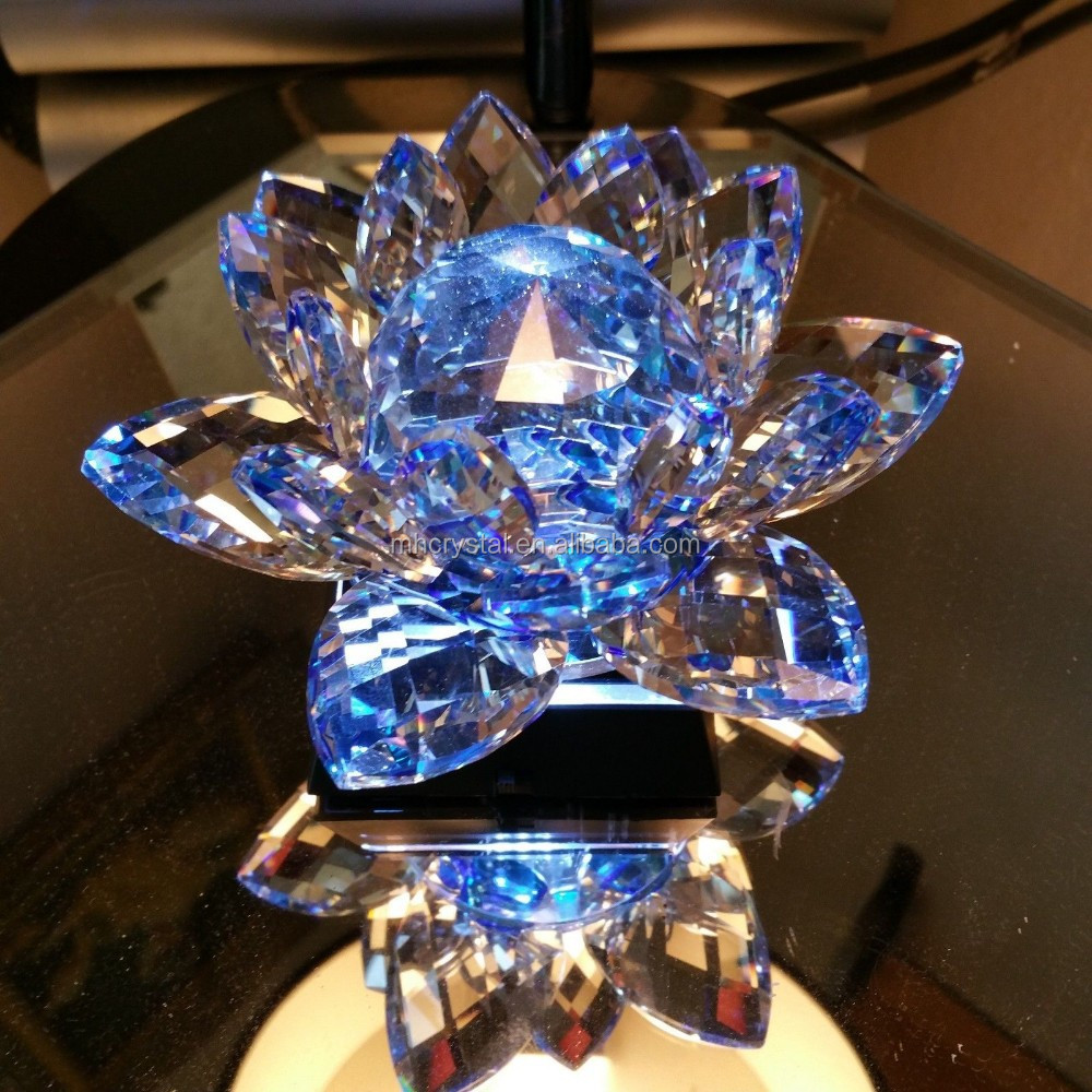 Decorative Blue Crystal Lotus Flower With Led Light Base Mh H0099