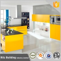 Shining yellow kitchen cabinets wall units, modular ktichen cabinet