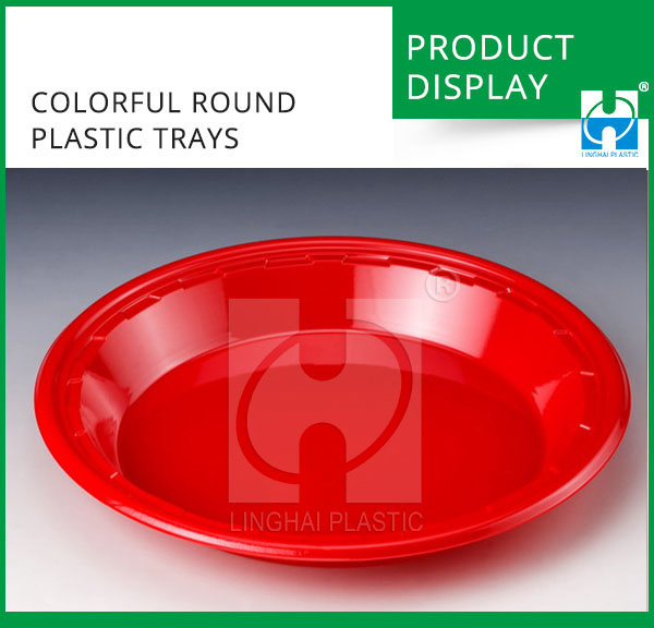 Custom Disposable Food Grade Food Plastic Colorful Round Tray For Food