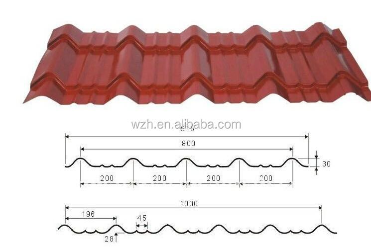 2015 Popular Glazed Ppgi Steel Corrugated Sheet Size Of