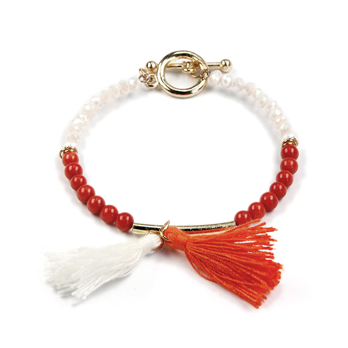 New Fashion Pearl Bracelet Red Coral Stretch Bracelet With Anchor Auxiliary