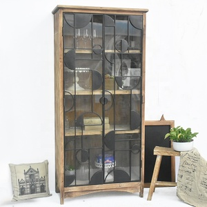 Tropical Style Vintage Country Solid Wood Furniture Bookshelf,Farmhouse Wooden bookcase with Glass Door Model