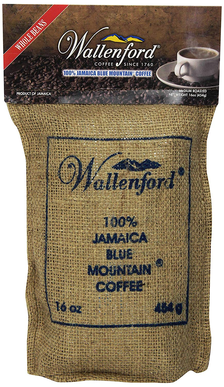 16oz (1lb) Roasted Whole Bean 100% Jamaica Blue Mountain Coffee