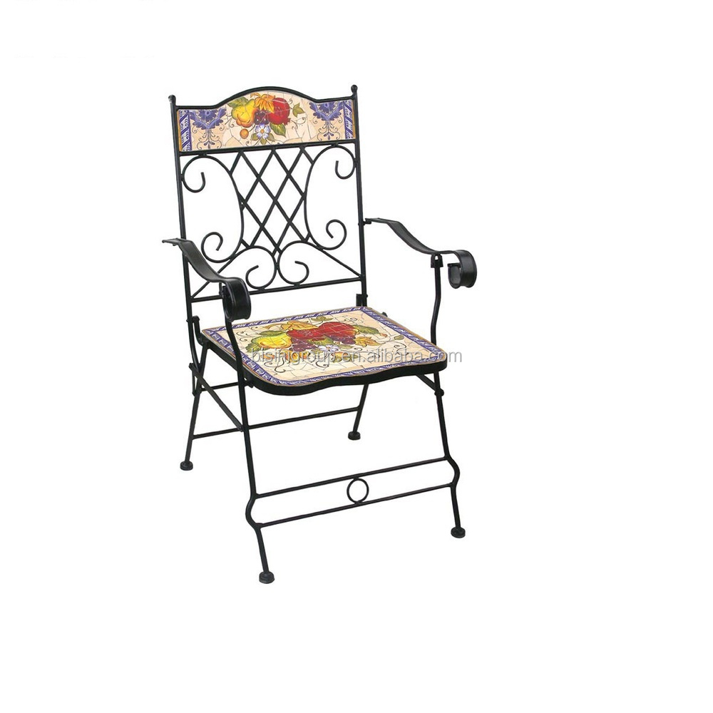 Floral   vegetable painted dining chair wrought iron folding chair  decorative cast iron chairsFloral   Vegetable Painted Dining Chair Wrought Iron Folding Chair  . Decorative Folding Chairs. Home Design Ideas