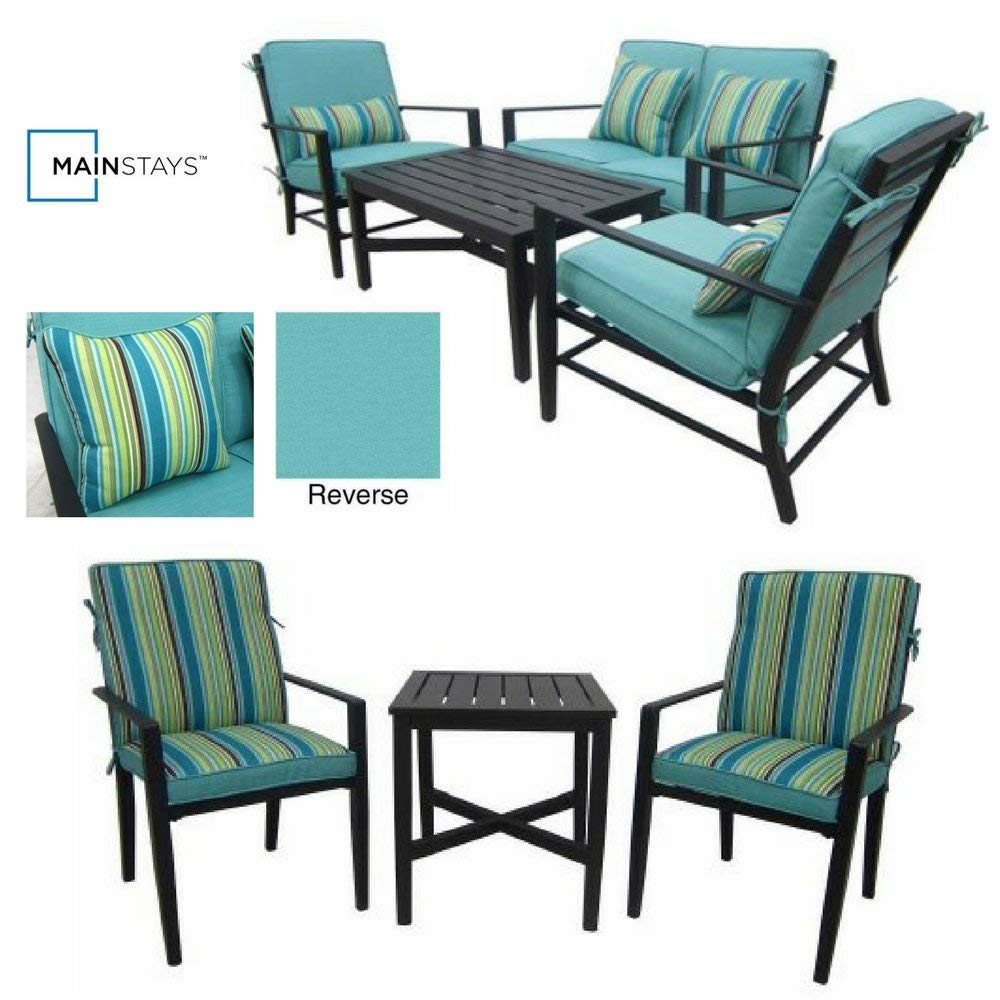 4-Piece Patio Conversation Set & 3-Piece Bistro Set, Mainstays Rockview Collection, Patio Furniture, Garden, Weather Resistant, Reversible Cushions, UV-Rated Fabrics, Durable Steel Frames, Modern
