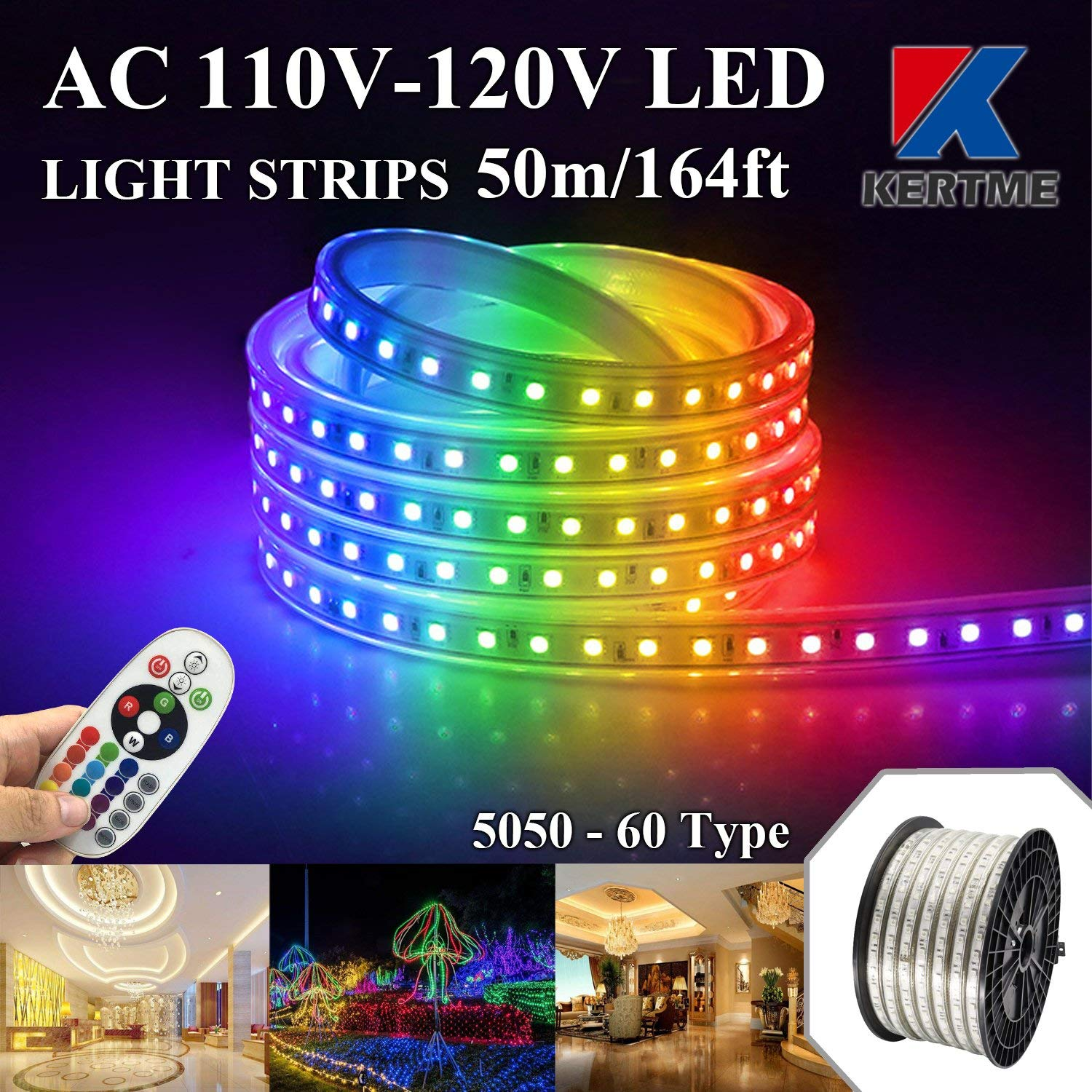KERTME 5050-60 Type AC 110-120V RGB LED Strip Lights, Flexible/Waterproof/Dimmable/Multi-Colors/Multi-Modes LED Rope Light + 24 keys Remote for Home/Garden/Building Decoration (164ft/50m, RGB)